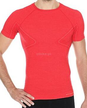 ea7a54fee345c8 BRUBECK ACTIVE WOOL Koszulka męska krótki rękaw czerwona - Internet shop